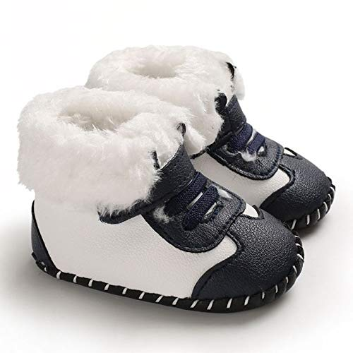 Qiuge Winter Trägt Weiche Sohle Neugeborenen Winter-Baby-Schuhe, Größe: Innenlänge: 12 cm (Color : Blue)