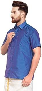 SJS-Men's Half Sleeve Solid Art Silk Shirt (Steel Blue, 36)
