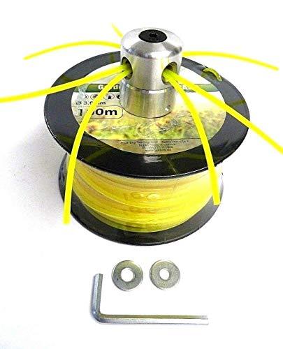 Tête de fil en aluminium pour débroussailleuse + 100 m de fil de coupe hexagonal 3 mm