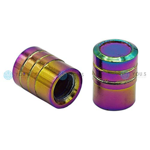 YOU.S Alu Zylinder Ventilkappen Flip-Flop-Lack mit Dichtung Ventil Kappen Abdeckung für Auto PKW LKW Motorrad Fahrrad (2 Stück)