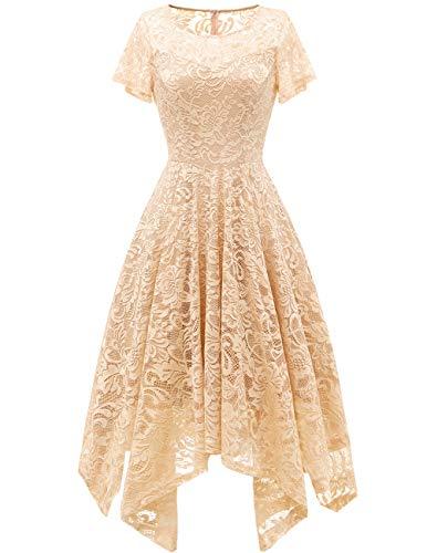 bridesmay Damen Elegant Spitzenkleid Rundhals Unregelmässig Zipfel Kleid Abendkleid Cocktailkleider Champagne S