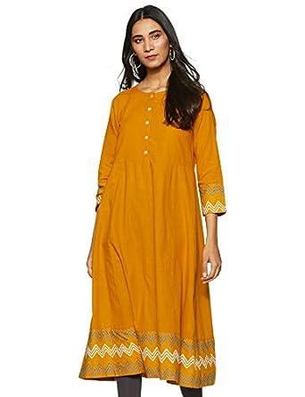 Amazon Brand - Tavasya Women's Cotton Blend Regular Kurti