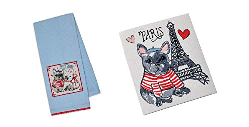 Design Imports Frenchie Love Pup in Paris Dishtowel and Dishcloth Set