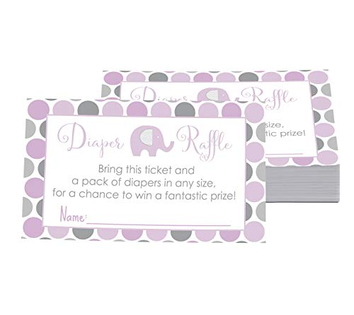 Purple Elephant Diaper Raffle Tickets Set of 25 Games for Girls Baby...