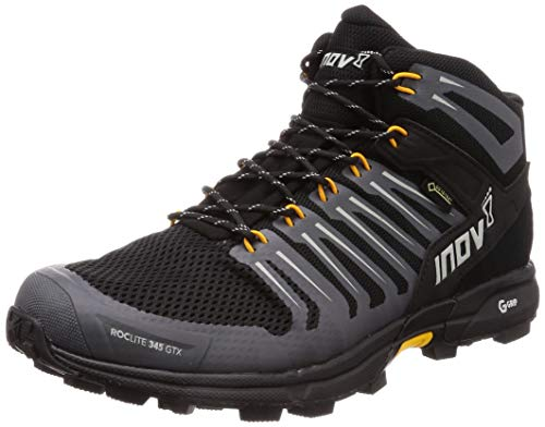 Inov-8 Mens Roclite G 345 GTX - Lightweight Gore Tex Waterproof Hiking Boots - Graphene Grip - Black/Yellow - 12.5