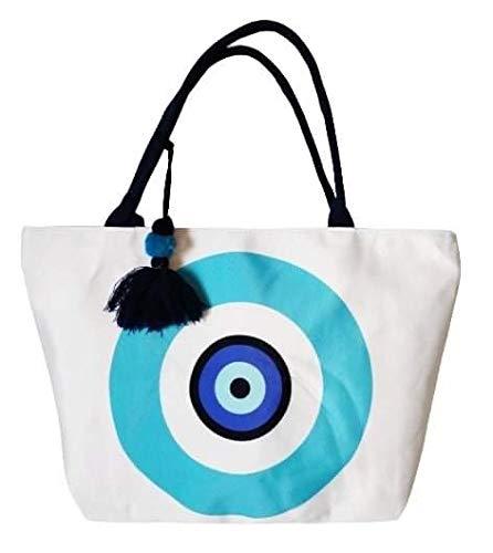 Goods4good Bolso Grande Playa Piscina Mujer con Diseño de Mandala 57x38cm con Pompón Regalo Verano (Azul y turquesa)