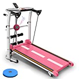 Multifunctional Folding Mechanical Treadmill, Home Small Silent Walking Machine With Bluetooth Speaker, Manual Treadmill With Incline, Fitness Exercise Weight Loss Running Machine ( Color : Pink )