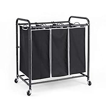 ROMOON Laundry Sorter 3 Bag Laundry Hamper Sorter with Rolling Heavy Duty Casters Laundry Organizer Cart for Clothes Storage Black