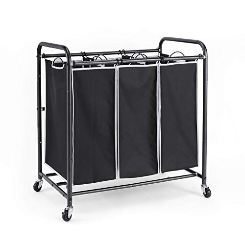 ROMOON Laundry Sorter, 3 Bag Laundry Hamper Sorter with Rolling Heavy Duty Casters, Laundry Organizer Cart for Clothes Storage, Black