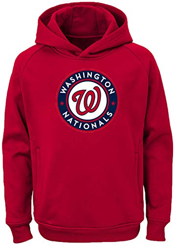 Outerstuff MLB Kids 4-7 Team Color Polyester Performance Primary Logo Pullover Sweatshirt Hoodie (7, Washington Nationals)