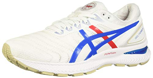 ASICS Men's Gel-Nimbus 22 Running Shoes, 10.5, White/Electric Blue