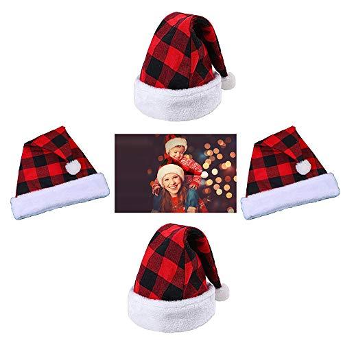 4 Piezas Gorro de Papá Noel, Gorro de Navidad, Sombrero de Papá Noel, Gorro Navideño y Sombrero Rojo de Santa Claus, Tela Escocesa Negra y Roja, para Disfrazarse de Navidad(30 x 41 cm)