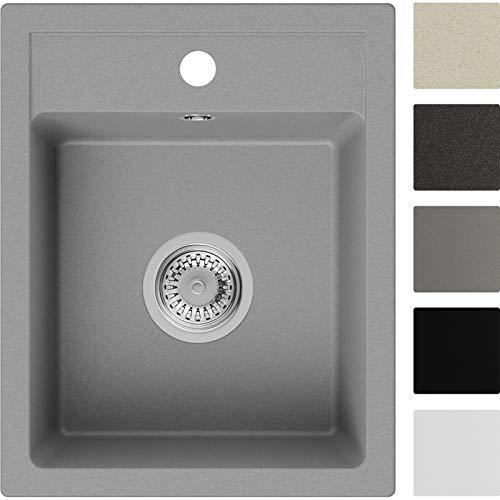 Spülbecken Grau 40 x 50 cm, Granitspüle + Siphon Klassisch, Küchenspüle ab 40er Unterschrank in 5 Farben mit Siphon und Antibakterielle Varianten, Einbauspüle von Primagran