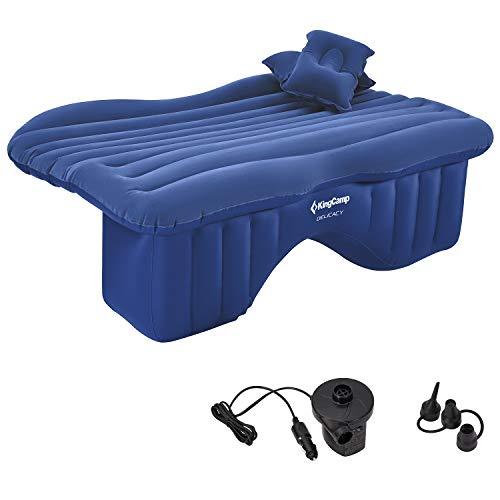 KingCamp Auto SUV Aufblasbare Rücksitz Luftmatratze mit Luftpumpe, 2 Kissen, Universal Luftbett Tragbare Camping Blow Up Schlafbett, Beflockung Oberfläche, Wasserdicht, Auslaufsicher, Blau