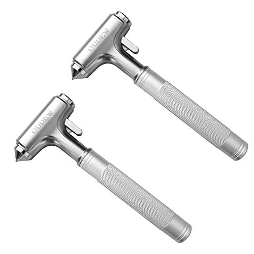 OUDEW Glass Breaker, Window Hammer, Metal Car Safety Hammer,with Hard Alloy Head Window Breaker Seat Belt Cutter Aluminium Alloy Emergecy Escape Tool(Silver 2PCS)
