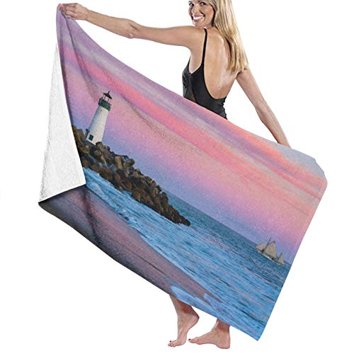 Grande Suave Ligero Toalla de Baño Manta,Faro de rompeolas de Santa Cruz en Santa Cruz, California al Atardecer,Hoja de Baño Toalla de Playa por la Familia Hotel Viaje Nadando Deportes,52' x 32'