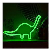 シャイニング ベッドルームの壁、誕生日プレゼントに適しネオンサイン、ネオンライト恐竜、ユニークなネオンライト、 家族でのパーティー、誕生日パーティー、雰囲気 (Color : Green)