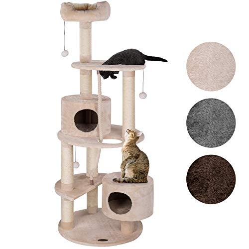 Happypet® Kratzbaum Grosse Katzen 167 cm (CAT040), Kletterbaum rund Katzenbaum Maine Coon, extra Dicke und stabile Natur-Sisal-Säulen ca. 9 cm, Haus, Höhle, Sisaltau, Spielball, BEIGE