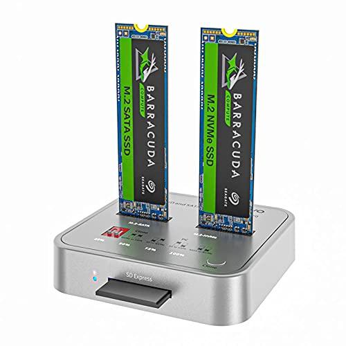 MAIWO K3016CL Dual bay Docking station per disco rigido M.2 SATA / NVMe SSD, Lettore di schede SD, Duplicatore con funzione clone Offline, Support fino a 4 TB di dischi rigidi(2*2TB)