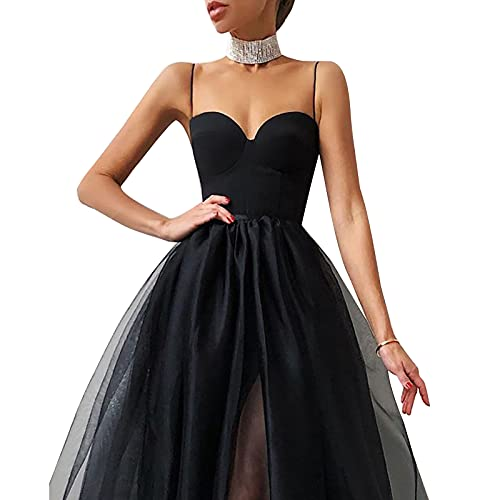 Olisenci Damen Sommer Sexy Elegantes Abendkleid Cocktail Mesh Tube Top Kleid Solid Color Spaghetti Straps Kleid (Schwarz, S)