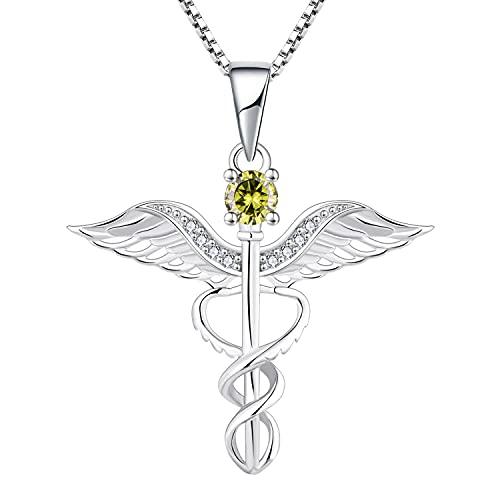 YL Collar de enfermera Plata de ley 925 corte Agosto Piedra de nacimiento Circonita Verde Peridoto Alas de ángel Caduceo RN Colgante registrado para Enfermera Doctor Mujeres
