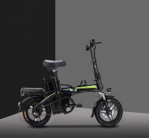 Adulto Pequeño Mujeres Bicicleta Plegable eléctrica, batería de Litio de 48V, Mini Bicicleta eléctrica, 14inch E-Bikes con Smart Meter,Negro,30KM