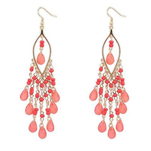 Damen Ohrringe Mode Kreative AnhäNger OhrhäNger Lange Ohrringe Schmuck Geschenke BöHmische Bunte Perlen Ohr Tropfen Baumeln Quasten Ohrringe Rosa