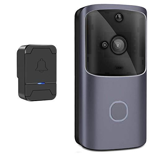 RUIXINBC Timbre Inalámbrico con Timbre De Video con Cámara, Videoportero 720P, Visión Nocturna, Detección De Movimiento Y Control De Aplicaciones Móviles
