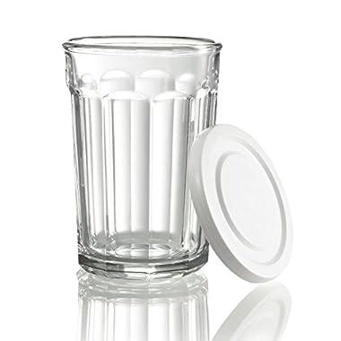 Luminarc Arc International Working Glass Storage Jar/Cooler with White Lid (Set of 4), 21 oz, Clear