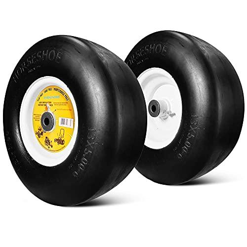 2 Neumáticos Lisos para cortacésped antipinchazos de Grado residencial 13x5.00-6 nuevos con llanta de Acero para Tractor Gardon, Cubo de 3.25-5.9', diámetro Interior & phi; 5/8',135006 T161