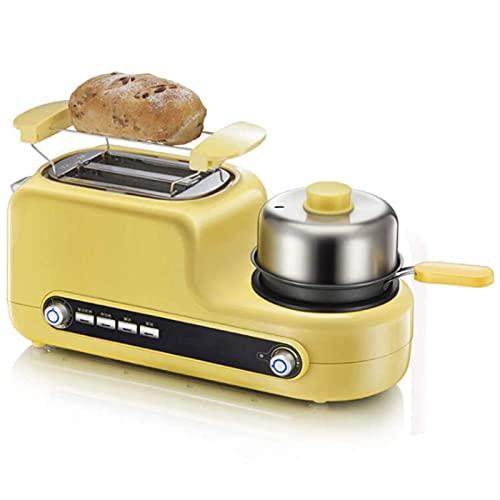 ZJWD Centro Colazione 3 in 1, tostapane a 2 fette e Macchina per Le Uova, con 6 impostazioni di tonalità del Pane, per panini, Bagel, Muffin Inglesi, Croissant e Altro