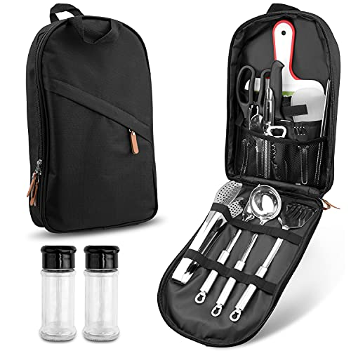 CCJK 19Pcs Portable Outdoor Utensil Cookware Set Stainless Steel Camping Kitchen Utensil Set with Carrying Organizer Backbag for Travel BBQ Grilling Picnic with Cooking Accessories for Party and More