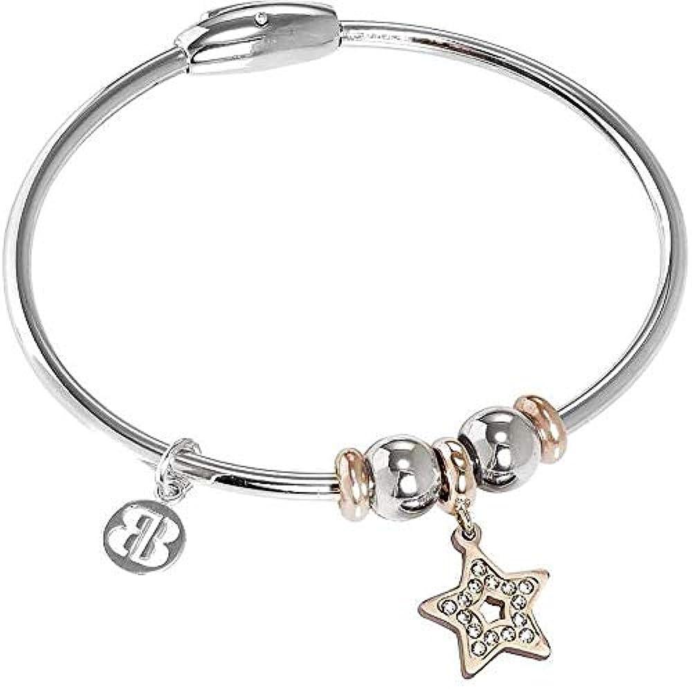 Boccadamo, bracciale per donna,in acciaio rodiato con charm centrale placcato oro rosa a forma di stella XBR770RS