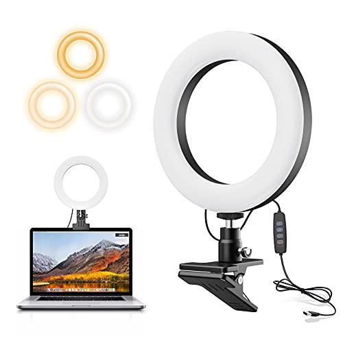 Aro de Luz, 6.3 '' con Clip Anillo de Luz , Luzde Videoconferencia, Ring Light 3 Modos de Luces 10 Brillos Regulable para Tik Tok/Computadora Portátil/Maquillaje/Vlog/Transmisión en vivo