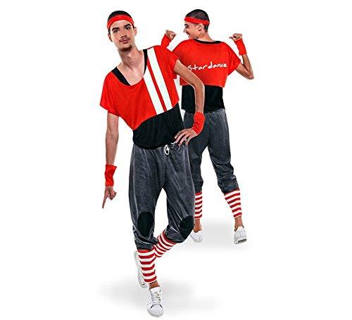 Yuppiyei Disfraz de Aerobic ochentero Rojo para Hombre