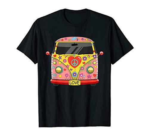 Hippie Kostüm - Peace Love Flower Power Retro Camper Bus T-Shirt