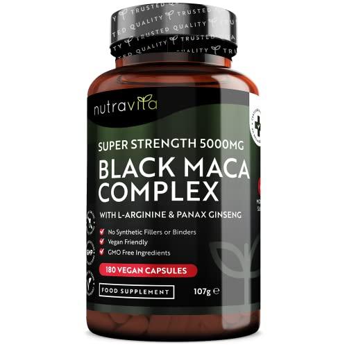Maca Negra Andina Cápsulas 5000 mg - 180 Cápsulas Veganas - Maca Negra de Alta Resistencia Con L-arginina y Panax Ginseng - Suministro 6 Meses - Fabricado en UK Por Nutravita