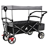 WOLTU Garden Cart with Roof, 4 Wheels with Brake, Folding Pull Wagon Handcart Trolley, Collapsible Portable...