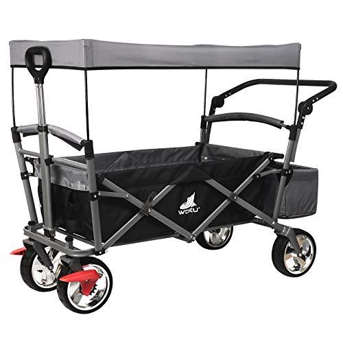 WOLTU® Bollerwagen faltbar Handwagen Strandwagen mit Dach, 4 Rollen mit Bremse, für den Garten Camping Kinder, 80 kg belastbar TW004ang