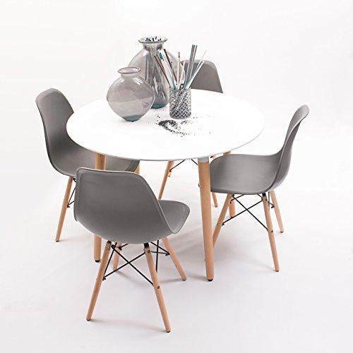 Conjunto de Comedor de diseno nordico NORDIK-MAX con Mesa Redonda de 100 cm y 4 sillas (Gris Oscuro)