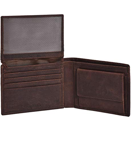 Eono by Amazon Leather Wallets with RFID- Overflap Wallet with Coin Pocket,2 Note Compartment
