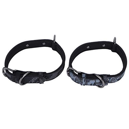 Collar De Perro 2 Unids Collar De Perro Camuflaje Cuello De Cuello Reflectante Forro Cómodo con Etiqueta De Identificación En Blanco Negro/Gris Patrón Disruptivo M