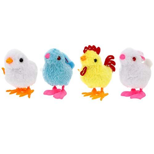 TOYANDONA 4 Stücke Kinder Aufziehspielzeug Tiere Plüsch Kaninchen Küken Figur Osterhase Ostern Mitgebsel Spielzeug Hase Dekofigur Aufziehtiere Wind Up Figur für Baby Geschenke (Zufällige Farbe)