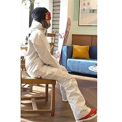 HUXIZ Ski Suit One Piece Skianzug Wmen Winter-warme wasserdichte Jacke + Pants Thermal Snowboard-Overall Female Breathable dünnes Set (Farbe : Weiß, Size : XS)
