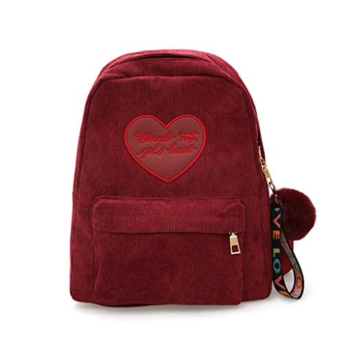 goneryisour Fashion Corduroy Backpack School Bag Casual College Daypack for Teenager Girls