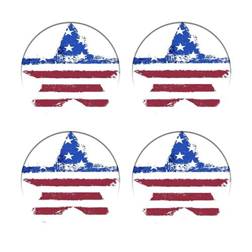 Posavasos para Bebidas,La Bandera Americana Impresa como símbolo en Forma de Estrella,Manteles...