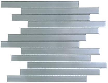 Vima - Strip Glass Subway Tile - Light Grey - 12