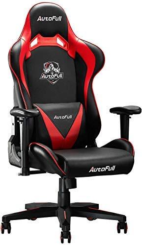 AutoFull Gaming-Stuhl, PU-Leder, Schreibtischstühle mit Lendenwirbelstütze, rot