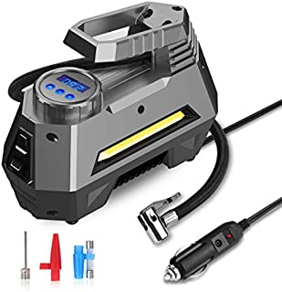 JOYROOM Portable Air Compressor Tire Inflator - Car Tire Pump with Digital Pressure Gauge (150 PSI 12V DC), Bright Emergency Flashlight - for Auto, Trucks, Bicycles, Balls