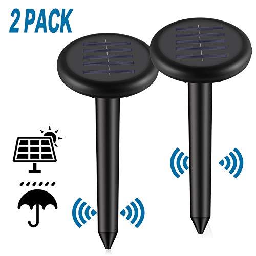 Viccioo 2Pack Ahuyentador de Topos Solar,Repelente Solar de Topo,Solar Ultrasónica para Topos,Repele los Ratones Topos y Las Ratas Roedor del, Repelente de Topo para Aire Libre Césped Jardín